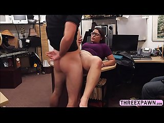 Freaky brunette lesbian thief willing to take huge cock in the shop