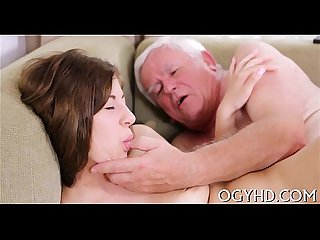 Old guy seduces juvenile babe
