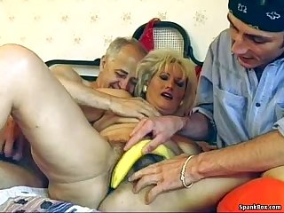 Hairy granny enjoys threesome