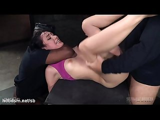 Rough deepthroating and ferocious bondage fucking experience for cute babe