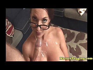 Mature handjob milf gets cum on bigtits