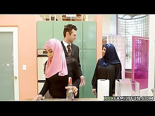 Virgin hijab girl fucked by white step dad