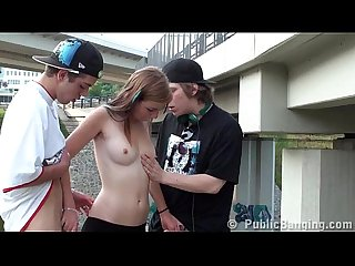 Gorgeous teen girl in PUBLIC GANGBANG Part 1