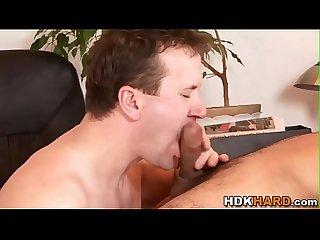 Horny gay hunk rides cock