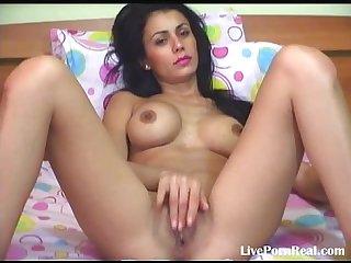 Sexy brunette dildoing her hot pussy 4 flv