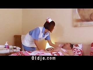 Blowjob and sex prescription for sick old step dad from slutty hot nurse