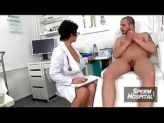 A boy patient ejaculates after handjob from nurse milf maya