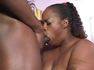 Curvy ebony MILF gets her hairy cunt banged and swallows cumload
