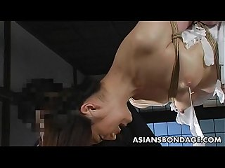 Lovely japanese cutie gets bound suspended and tormented