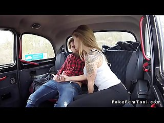 Nice blonde female fake taxi driver bang