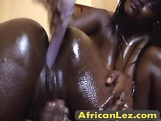 Oiled african lesbians shiro and amika toy dripping wet pusies