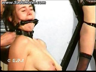 Master fights with naked slave and spanks her on her butt and pulls on her hair