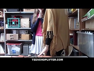 Teen granddaughter shoplifter and her grandmother fucked by security guy