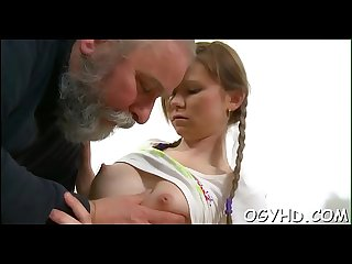 Young babe licked by an old dude