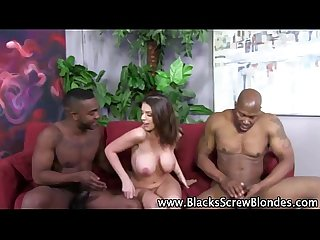 Sexy interracial slut sucks cocks