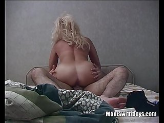 Horny blonde stepmom taking stepson 039 s cock for breakfast