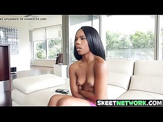 Ebony teen Sarah Banks with sexy ass smashed deep and raw