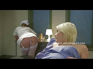 Blonde babe patient tied in hospital