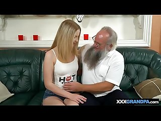 Santa lookalike grandpa fucks A hot blonde Teen babe