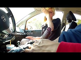 Evelyn blonde milf deep throat cock in car till she cries swallows cum modelpov