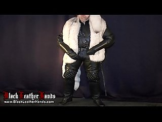 BlackLeatherHands WHIT BIG DILDO AND COCK IN WHITE FUR