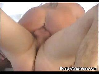 Busty amateur tera sucking on stiff cock