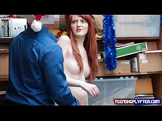 Pasty ginger teen fucked in back office as punishment is needed