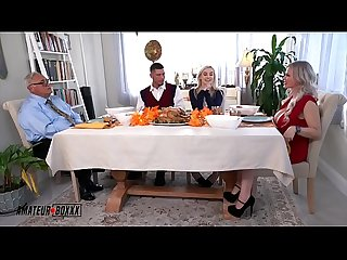AmateurBoxxx - Russian Milf Casca and Sexy Aria Banks Controlled and Stuffed on Thanksgiving