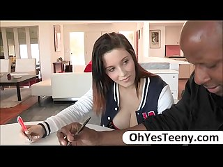 Busty student noelle easton swallows her teachers big black cock