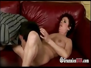 Young Stud Loves To Fuck Curly Granny With Hairy Cunt