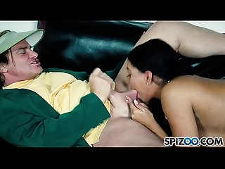 Spizoo - Big booty Kat Garcia take a huge cock in her throat, big boobs