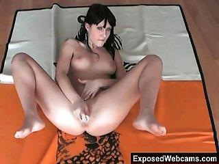 Dark haired emo slut masturbating on webcam