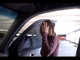 cute wifey doing handjob for stranger on the backseat of husbands car
