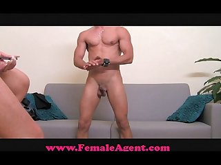 Femaleagent shy hunk is devoured