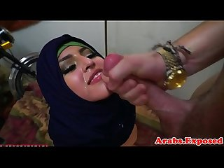 Doggystyled muslim babe gets facialized
