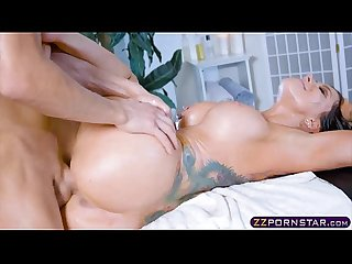 Masseur with a big dick fucks a busty oiled up pornstar