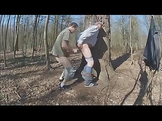 Young gay fucks older man in woods and sucks his small dick