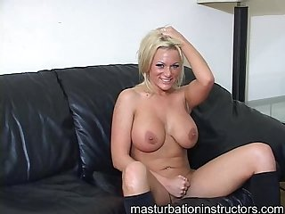 Blonde jerk off teacher is wild as she goes naked on the couch
