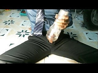 Cum fountain in suit and tie!