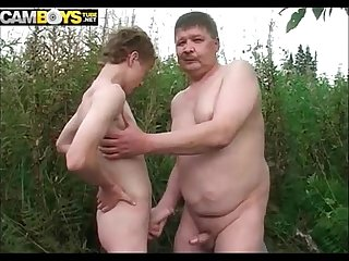 Fat old gay whit Twink in forest