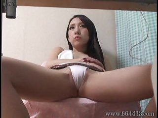 Peeping the nude and panties of japanese pornstar from under the desk