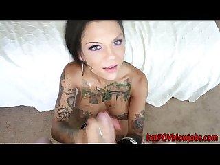 Tattooed babe gives head