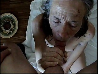 This old bitch wanted to suck and fuck my cock