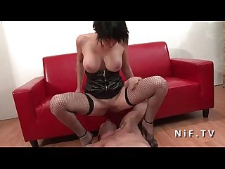 Casting couch of a big boobed french babe in fishnet stocking hard banged