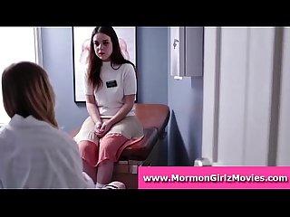 Lesbian doctor loves finger fucking tight mormon pussy