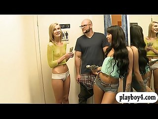 Skinny blonde babe screwed by bald dude and petite girl