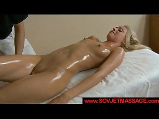 Gorgeous russian blonde pussy licked on massage table