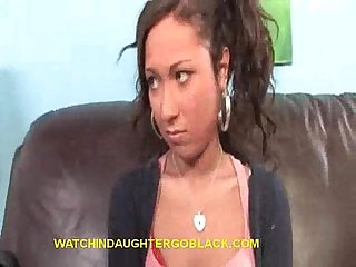 Teen babe sucks black cock in front of dad