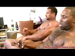 Ebony muscled dudes masturbate after hard anal sex