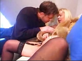 Blonde old lady riding and sucking